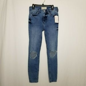 Free People Jeans - Free People Busted Ripped High Rise Skinny Jeans